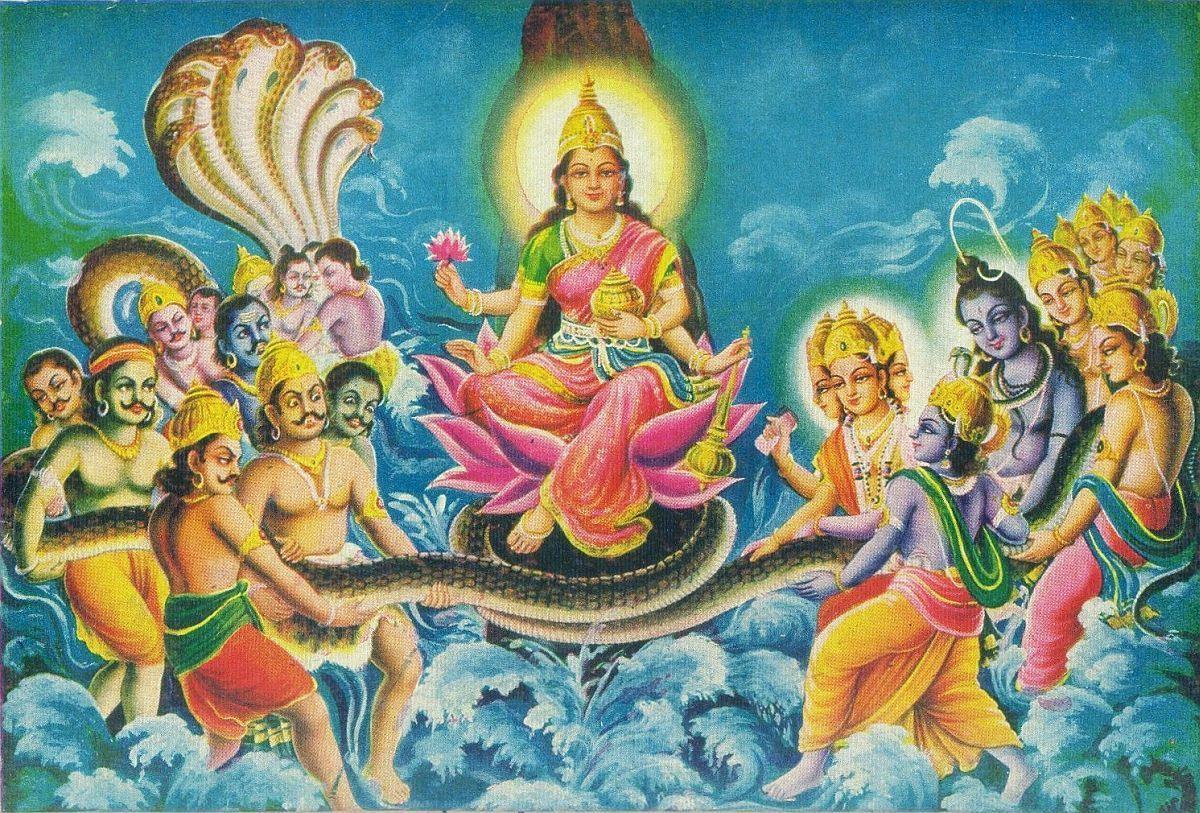 Hindu Cosmos - Samudra Manthan and Shree Lakshmi (via ebay:...   Hinduism  art, Goddess lakshmi, Devi