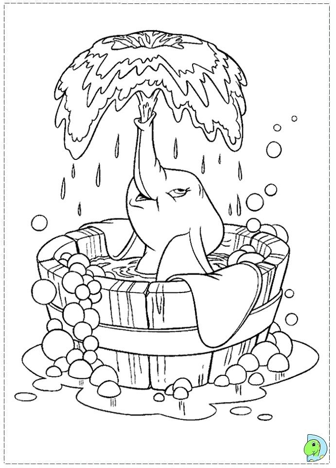 Dumbo in a bubble bath Characters Pinterest Coloring