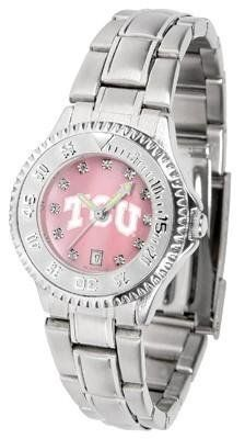 TCU Texas Christian Ladies Watch Mother-of-Pearl Face by SunTime. $94.95. Stainless Steel Band. Officially Licensed TCU Horned Frogs Ladies Stainless Stell Watch. Women. Links Make Watch Adjustable. Mother-of-Pearl and Crystal Face. TCU Texas Christian Ladies Watch Mother-of-Pearl Face This Horned Frogs watch has a functional rotating bezel that is color-coordinated to compliment your favorite team logo. The Competitor Steel utilizes an attractive and secure stainless steel band....