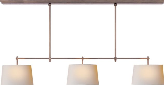 """TOB Pendant Height: 32"""" Minimum: 20"""" Width: 60"""" Canopy: 3½"""" x 60"""" Rectangle Available Finishes: AN, BZ, HAB, PN Shade Details: 10½"""" x 12"""" x 7½"""" NP Socket: 3 - Keyless Wattage: 3 - 75 A"""