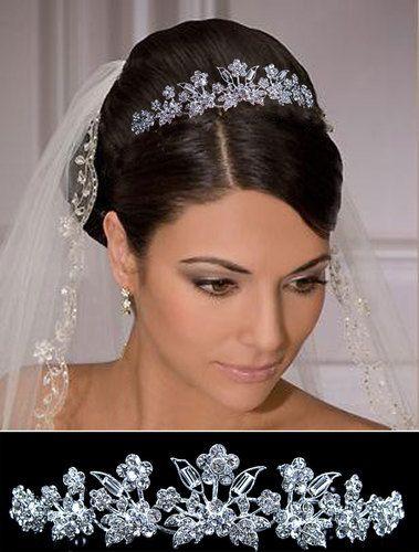Crystal Flower and Leaves Headband for Bridal Bridesmaid Wedding Tiara