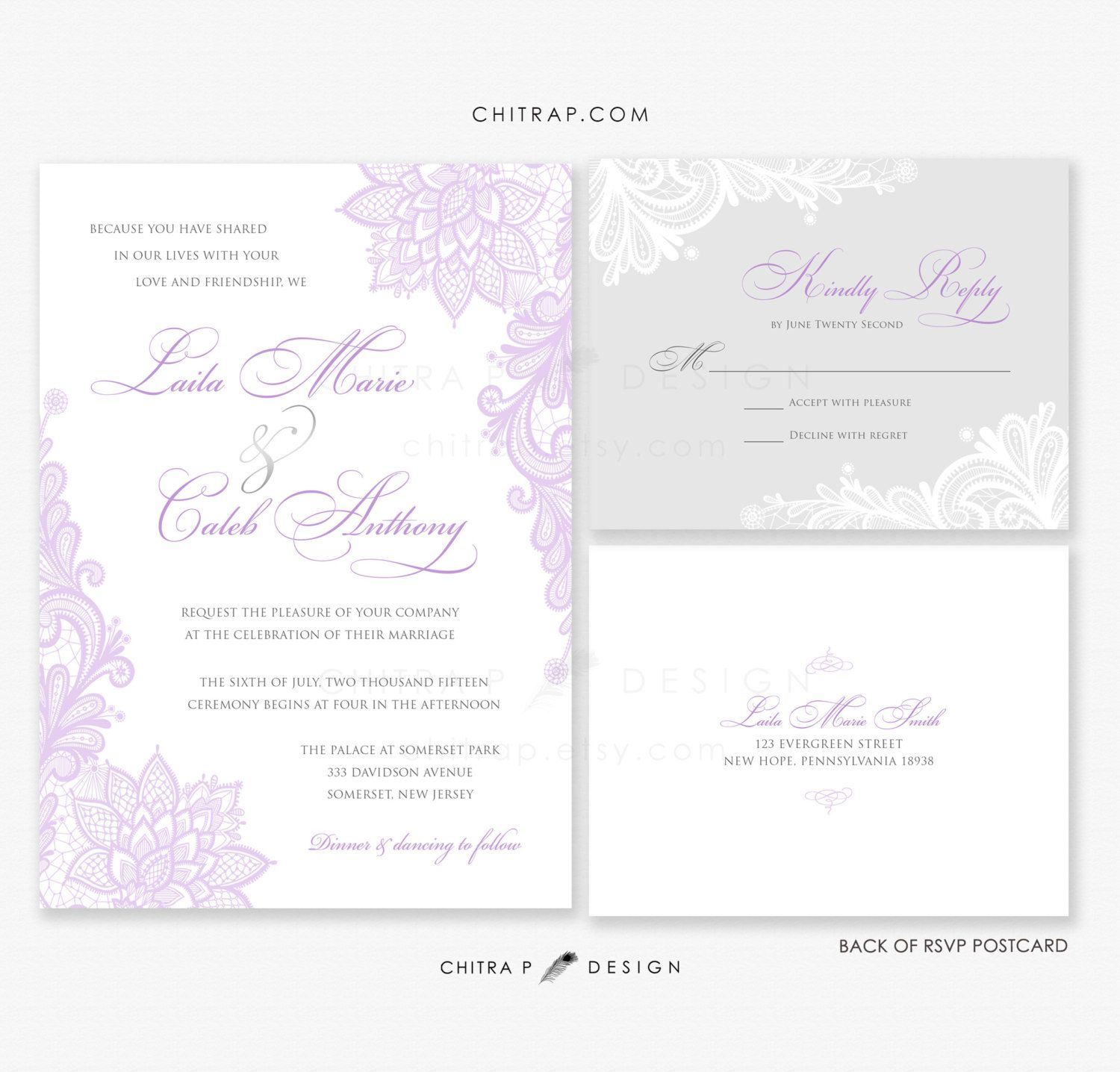 761a53016c33 Purple Lace Wedding Invitations + RSVP Cards - Printed