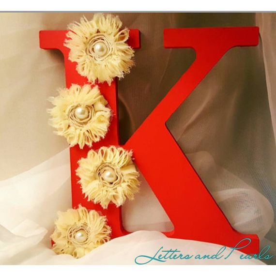 Wooden Letter K Fl Personalized Initial Decor Pink