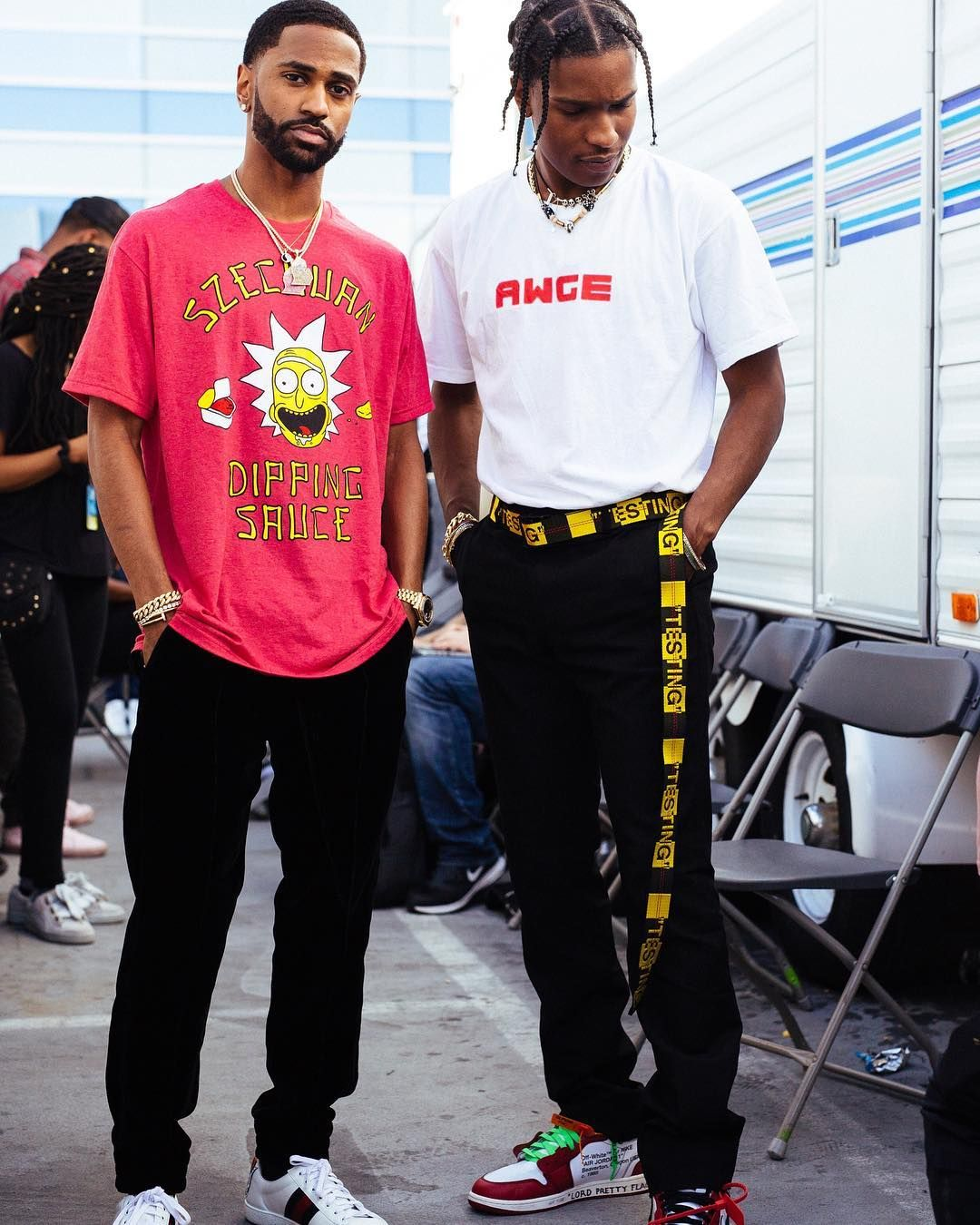 f49fc94fcf3ff2 Big Sean in SzeChuan Sauce Rick Shirt x Gucci Sneakers