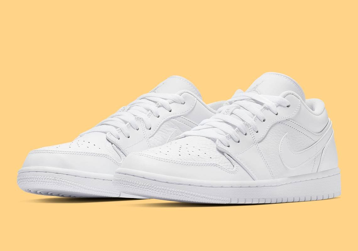 The Air Jordan 1 Low Arrives In Triple White | Nike air ...