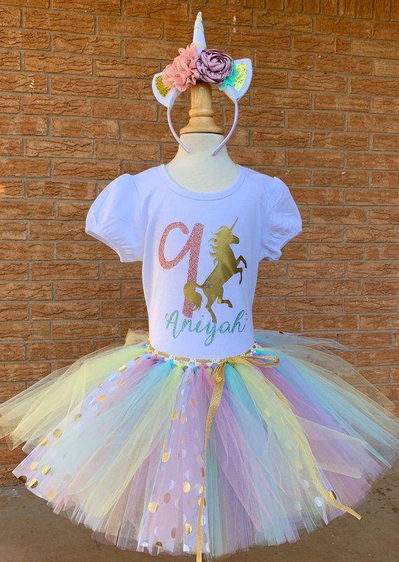 8d7f0da146407 girls ninth birthday unicorn shirt, nine shirt, 9th birthday outfit tutu,  rosegold, pastel colors, m