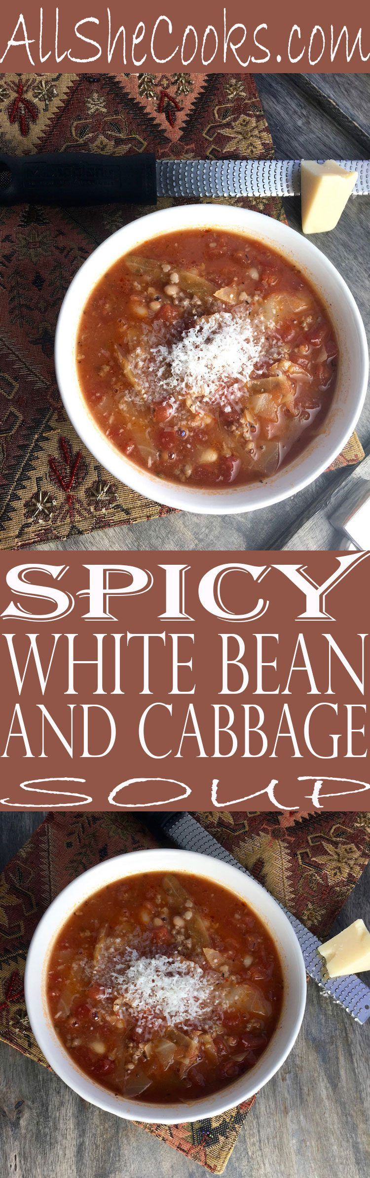 White Bean and Cabbage Soup weight loss soup. Delicious soup recipe with plenty of filling ingredients that make eating healthy easy.