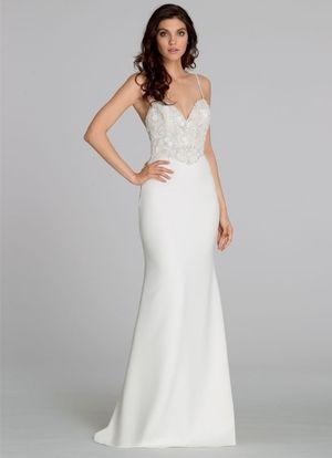 Ivory crepe sheath bridal gown, floral beaded bodice with a deep ...