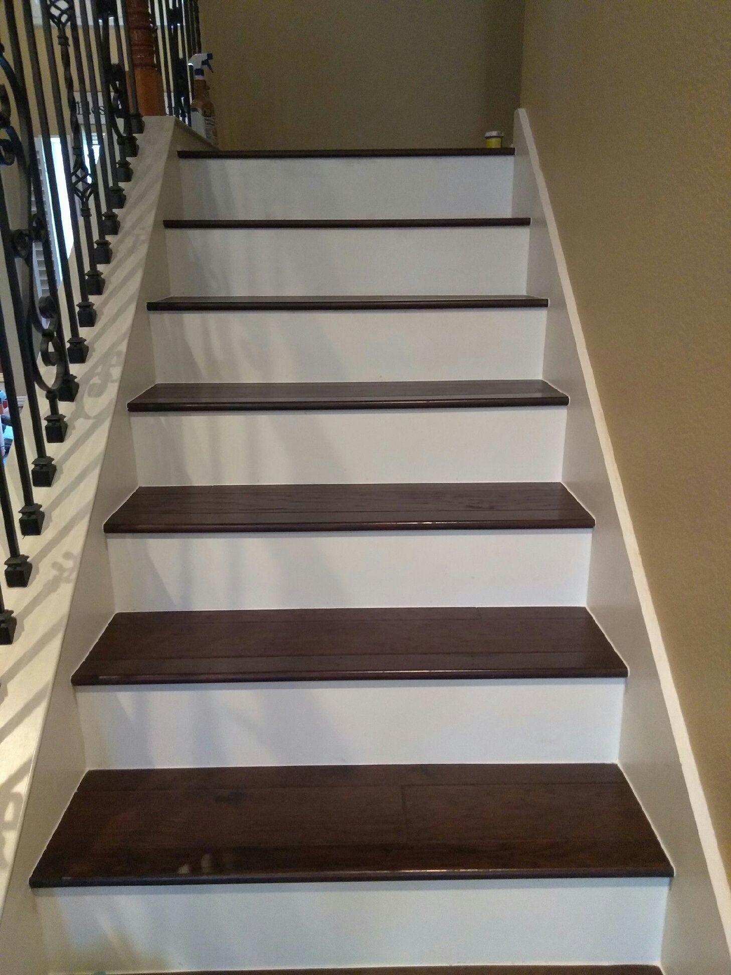 Wood On Stairs With White Risers In 2019 Vinyl