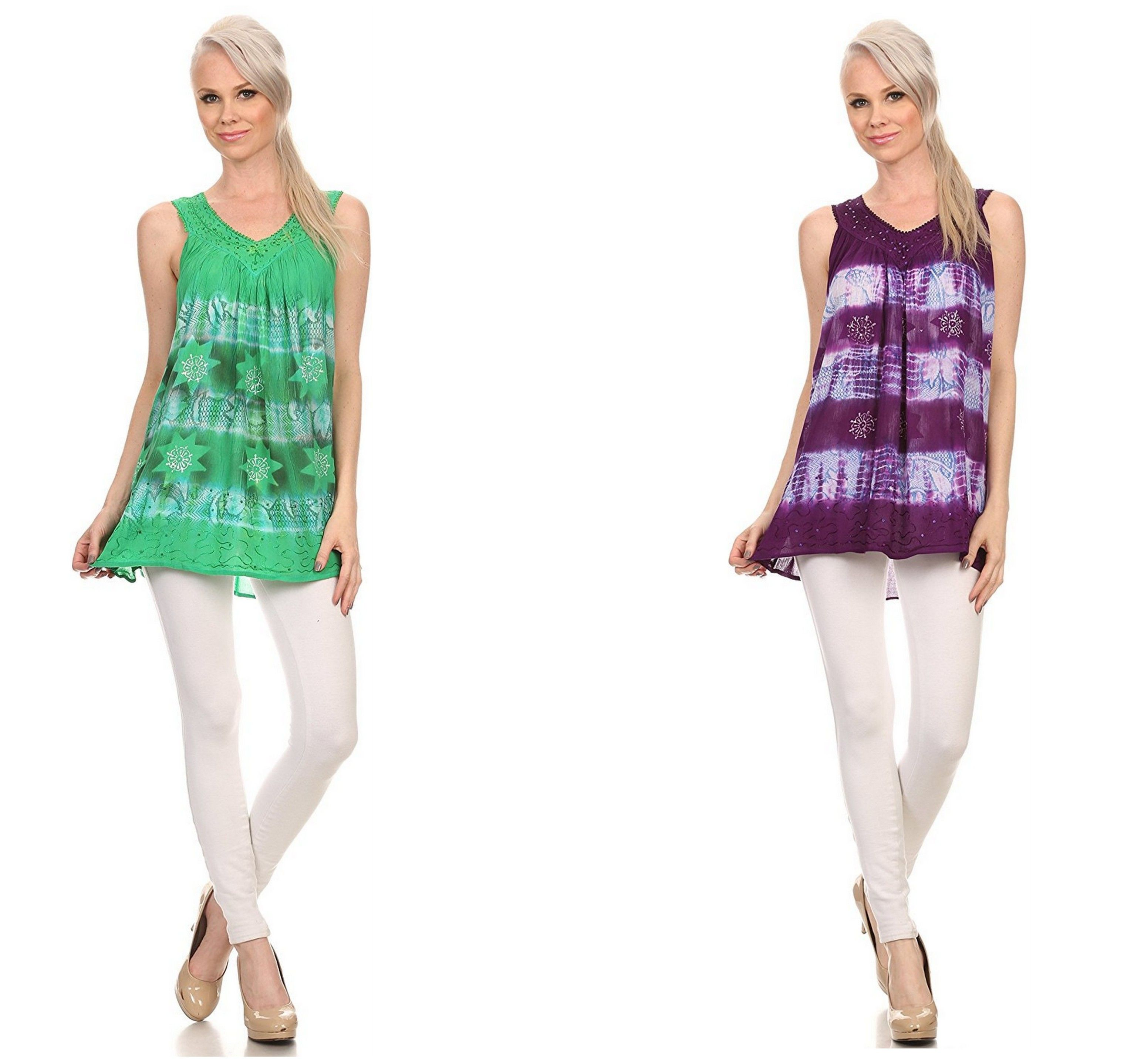 Sakkas top features a sleeveless tank top with a v neck design. There is floral design embroidery along the neckline and bottom hem as well as sequin embroidery details. #womens  #tops #ladies #apparel #blouses #fall #clothing #shirt #fashion #dress #women #plussizes #online #apparal #onlineshopping #fashionable #Bargains