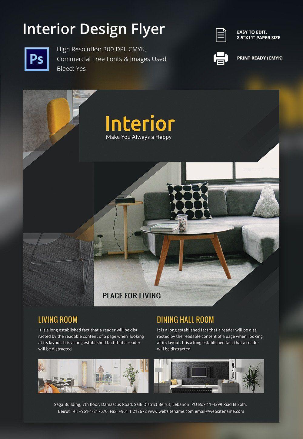 Free Flyers Designs Templates Interior Design Brochure 25 Free Psd Eps Indesign Interior Design Flyer Free Flyer Design Flyer Design