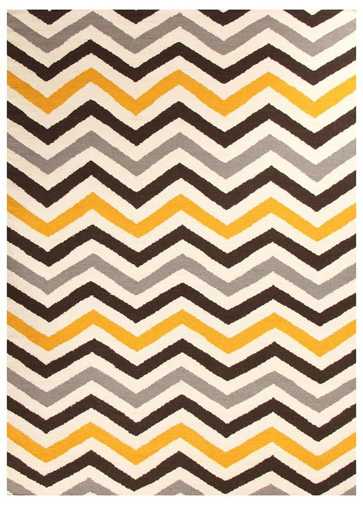 Flat Weave Fortune Rug Yellow Brown With Images Yellow Chevron