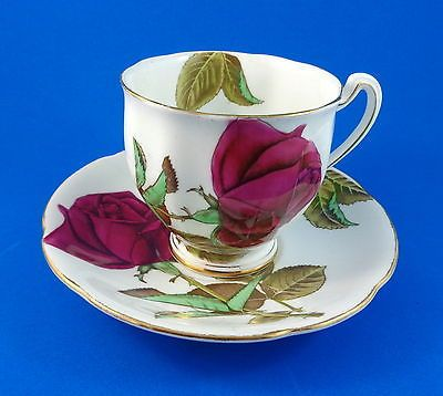Handpainted Deep Red  English Rose Royal Standard Tea Cup and Saucer Set