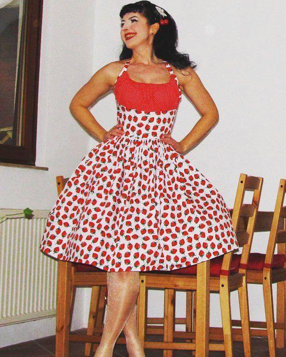 Pinup dress \'Strawberry Fields\', READY TO SHIP rockabilly dress ...
