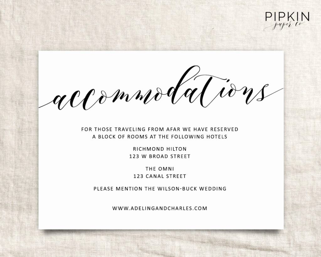 Free Wedding Accommodation Card Template Best Of Registry Card Template Re Mendation Hote Wedding Accommodations Wedding Invitation Inserts Accommodations Card