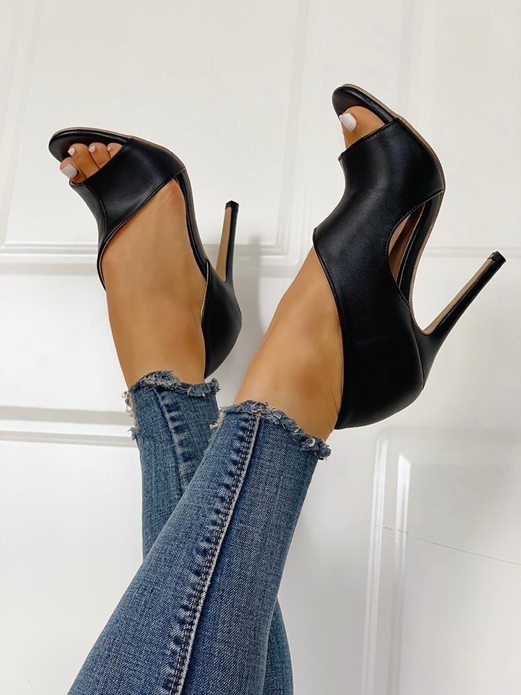 abf51272eae4 PU Cutout Peep Toe Thin Heeled Sandals