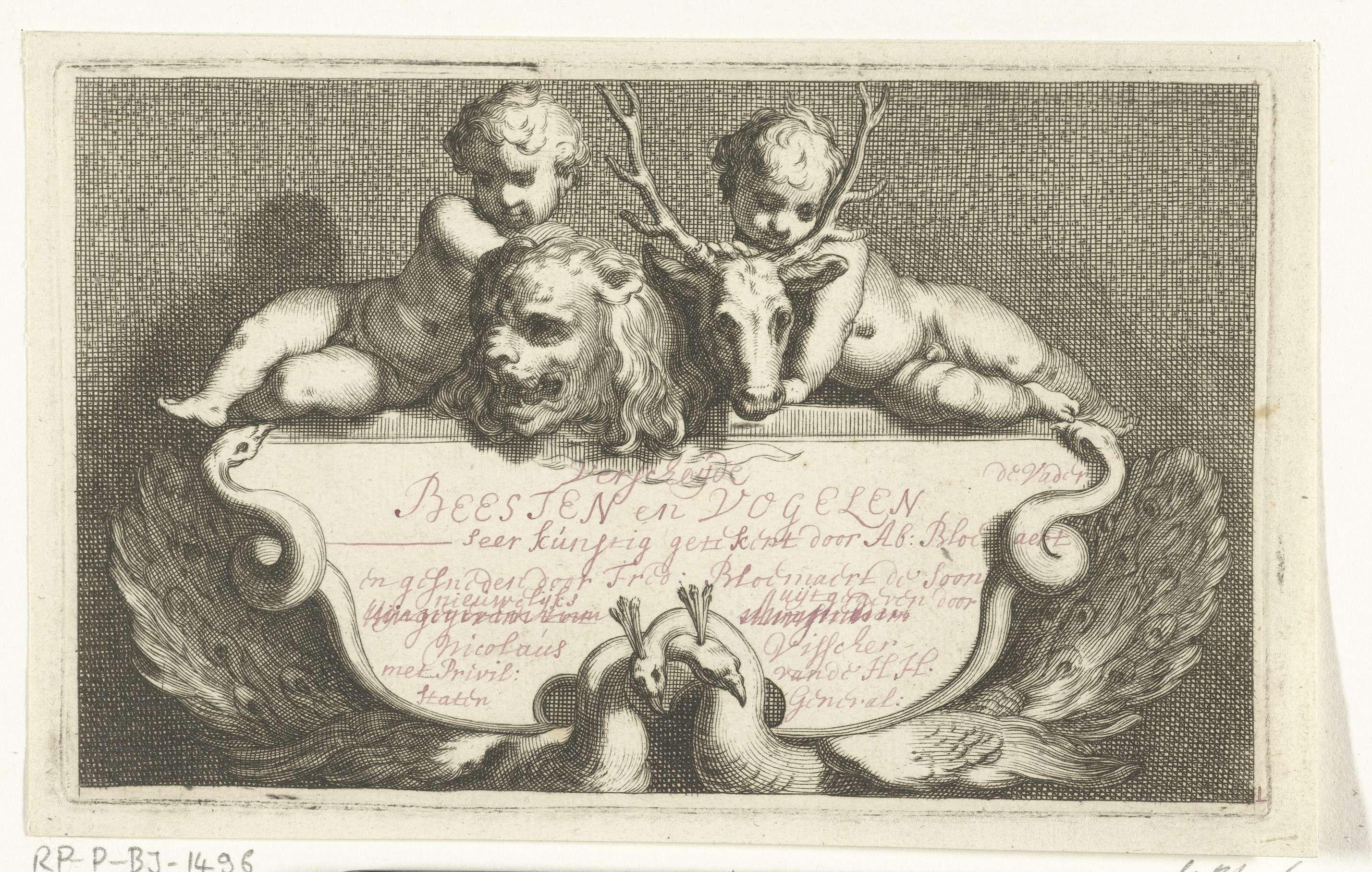 Frederick Bloemaert | Kinderen en dieren, Frederick Bloemaert, na 1635 | Een bord met Nederlandse tekst wordt gedragen door slangen en pauwen. Boven het tekstbord een leeuw en een hert met twee kleine kinderen. Titelprent voor een serie van 14 prenten met verschillende inheemse dieren.