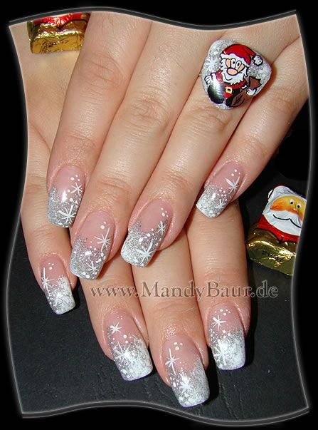 Red nails with metallic silver design