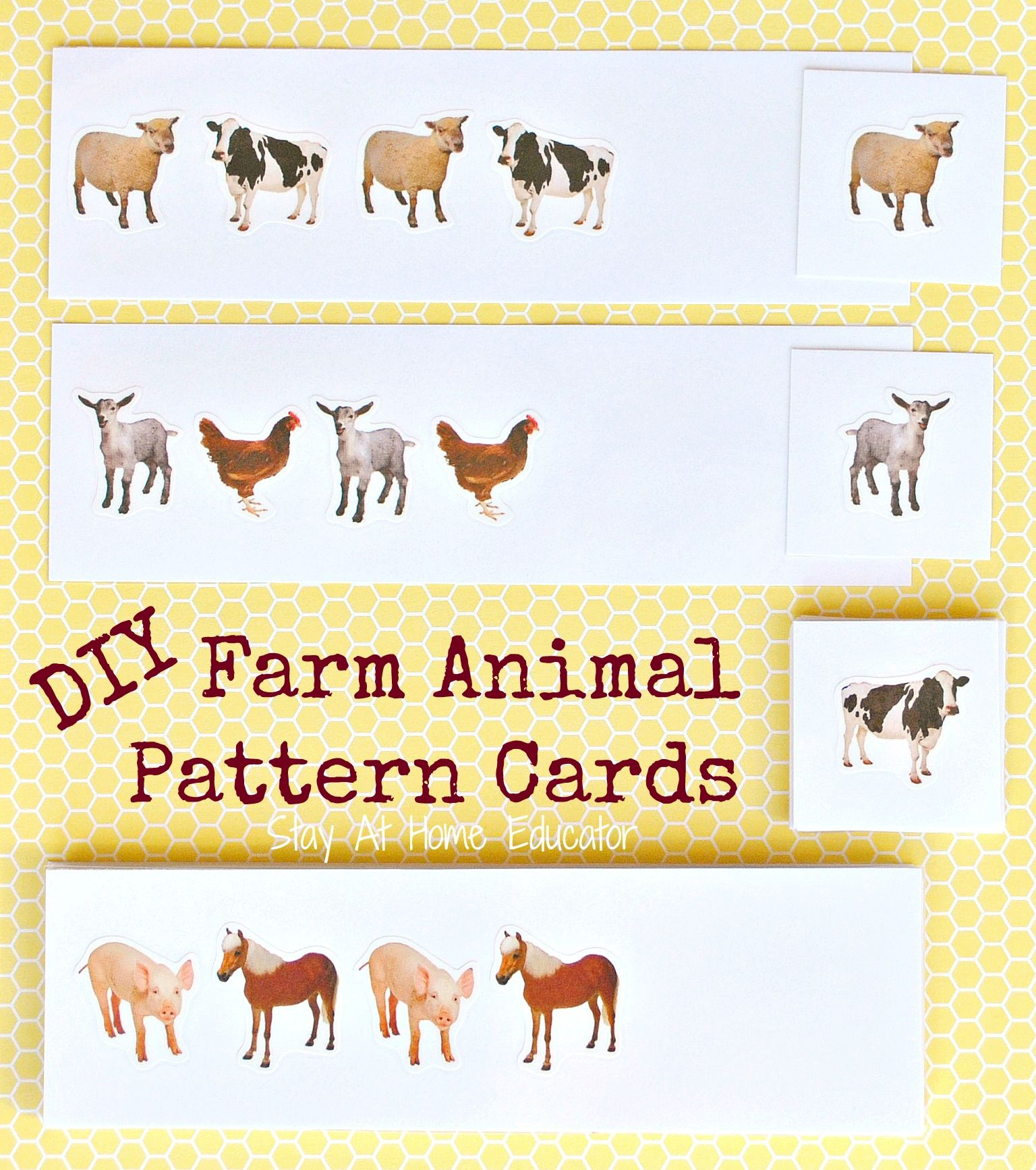 Free Printable Farm Animal Pattern Cards With Images
