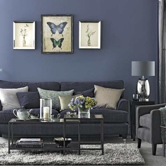 69 Fabulous Gray Living Room Designs To Inspire You: Navy Living Room Traditional Design Ideas With Comfortable