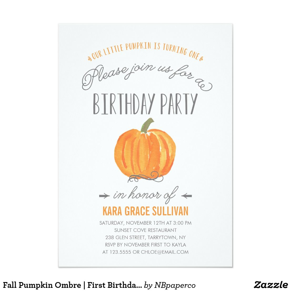 Fall Pumpkin Ombre | First Birthday Invitation