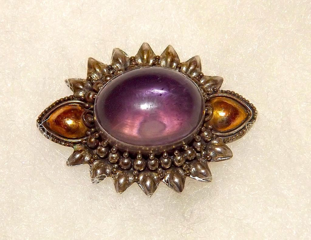 Vintage Taxco Mexican Sterling Silver Amethyst Brooch with Gold Plated Accents