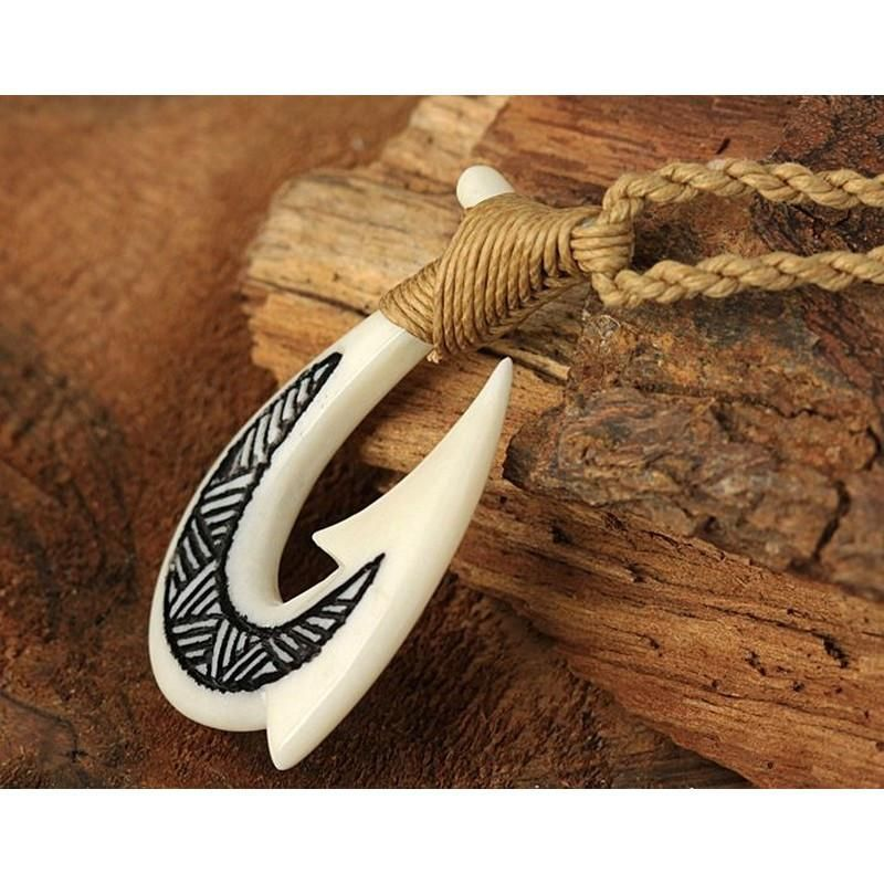 Hawaii Hand Carved Makau Koa Wood and Bone Fish Hook with Hemp Cord