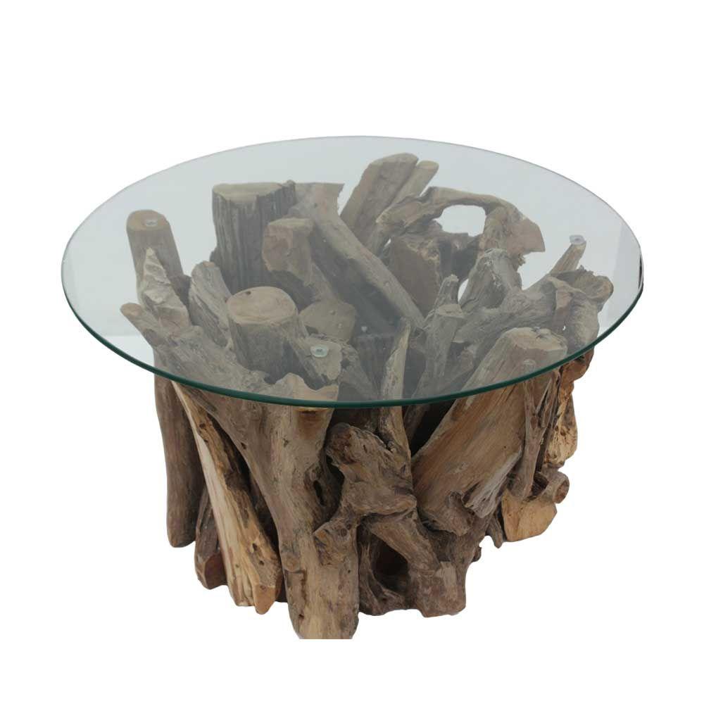 Runder Couchtisch aus Glas Teak Wurzelholz Jetzt bestellen unter ...