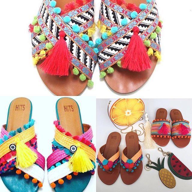 Os Pompons são a cara do verão! ☀️ olha só essas sandálias