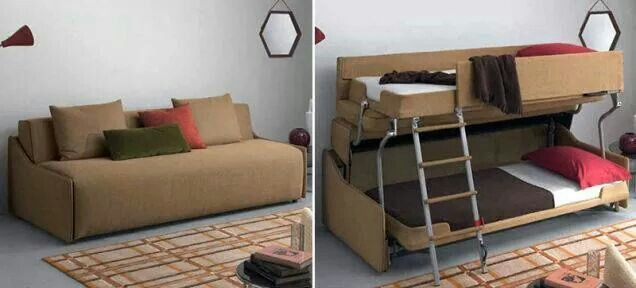 Transforming Sofa Turns Into Twin Bunk Beds Interiors