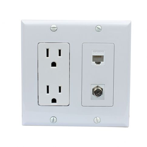 15 amp power outlet 1 port coax 1 port shielded cat5e on wall outlet id=96098