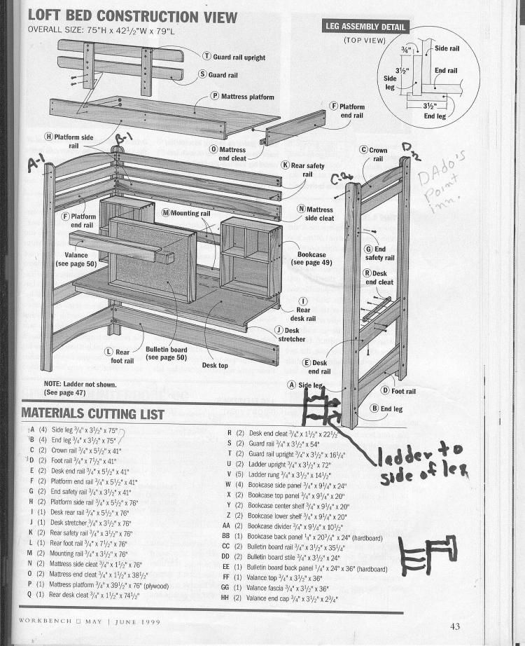 free loft bed design plans loft bed plans for free kreg jig owners community - Free Loft Bed With Desk Plans