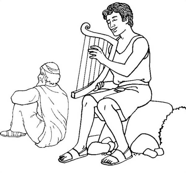 david play harp in the story of king saul coloring page
