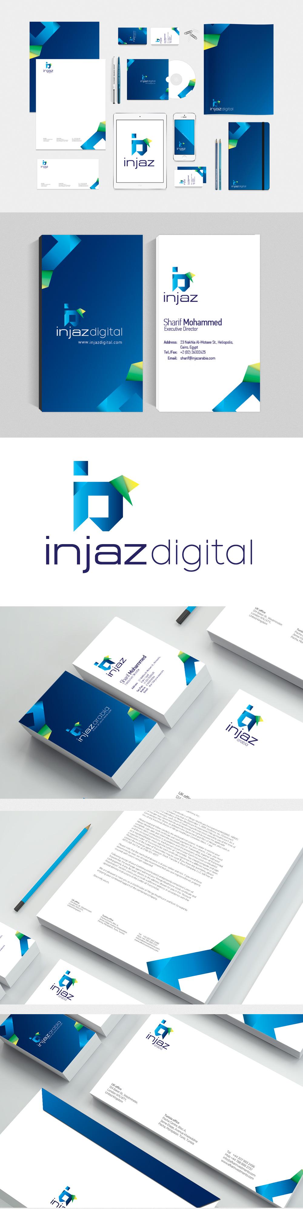 injaz digital egypt corporate identity branding design blue mobile