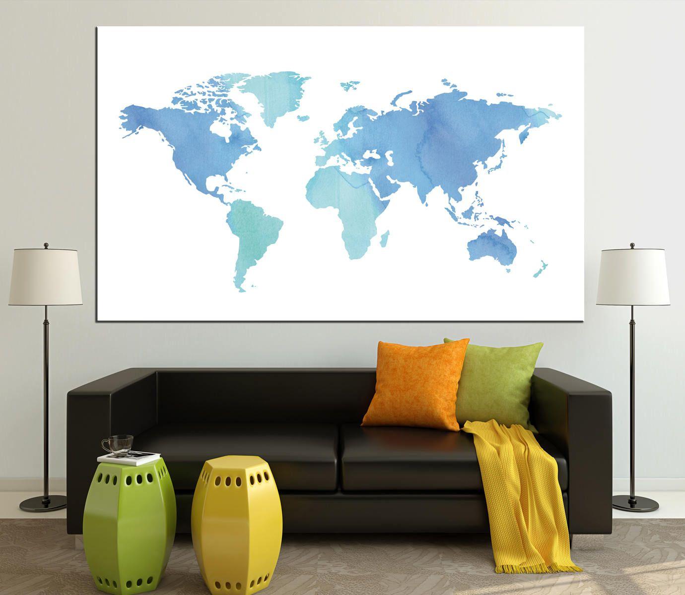 Blue watercolor large world map canvas panels set ready to hang blue watercolor large world map canvas panels set ready to hangmodern abstract world map gumiabroncs Images
