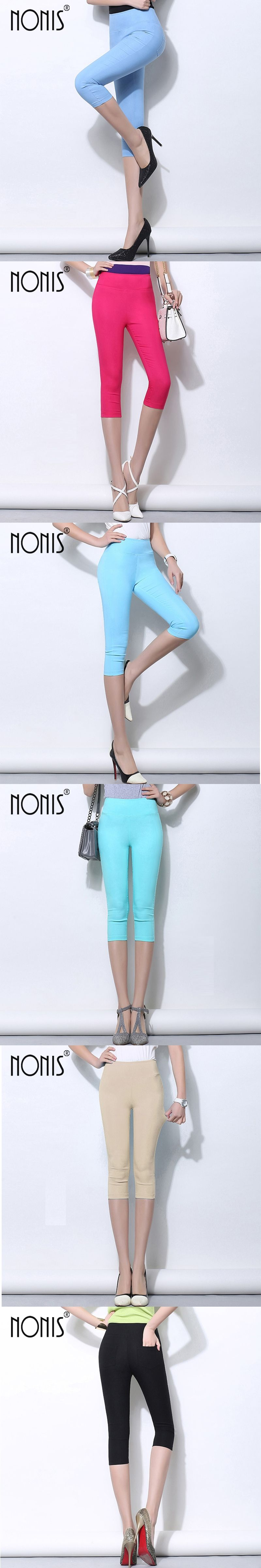 5a5986c33a0 Nonis Candy Color Women Leggings Candy Color High Stretch Pencil Pants  Elastic Skinny Capri Legging Female