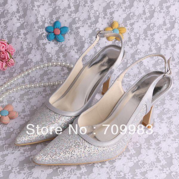 97b1c7d660 Silver Pumps For Wedding | Magic Bride Silver Glitter Wedding Shoes ...