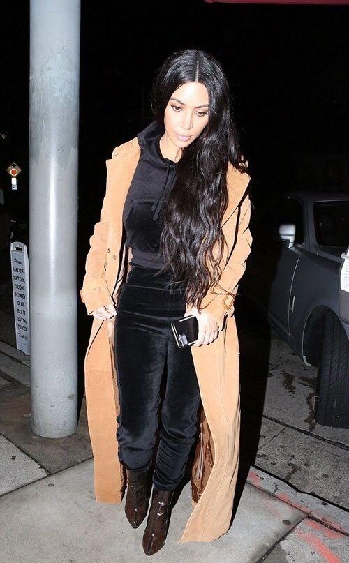 17ebc8dd9e Kim kardashian long brunette brown hair wavy style track suit sweatsuit  long camel duster coat street style