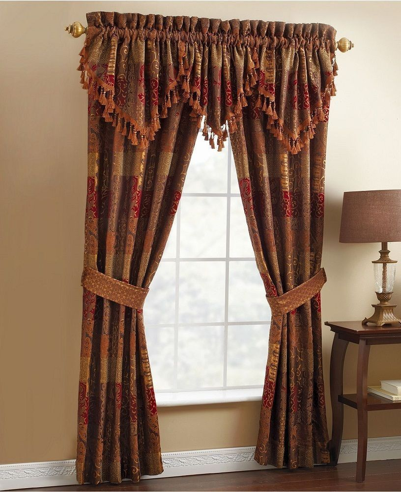 New Croscill Galleria Red Tapestry 2 Pole Top Panels W 2 Ties Valance Croscill Window Treatments