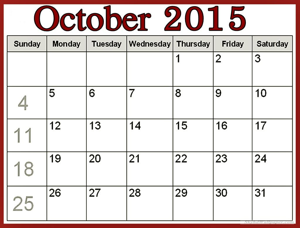 Free Download October 2015 Calendar India Pictures Images