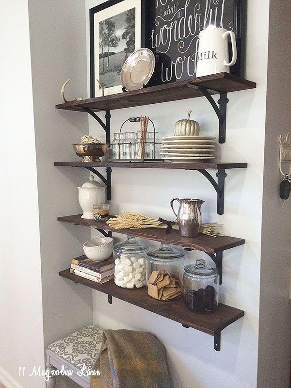 Amy Fall Home Tour Kitchen Wall Shelves Decor