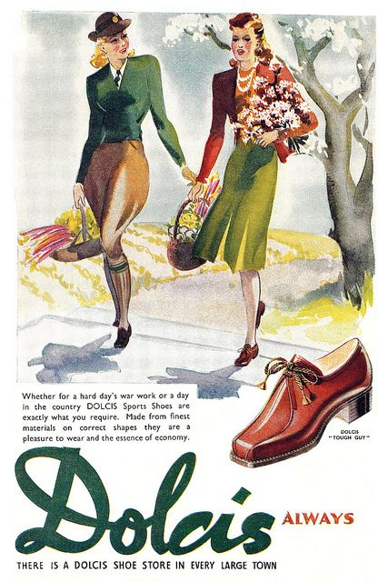 What lovely artwork in this charming 1940s Dolcis shoe ad.