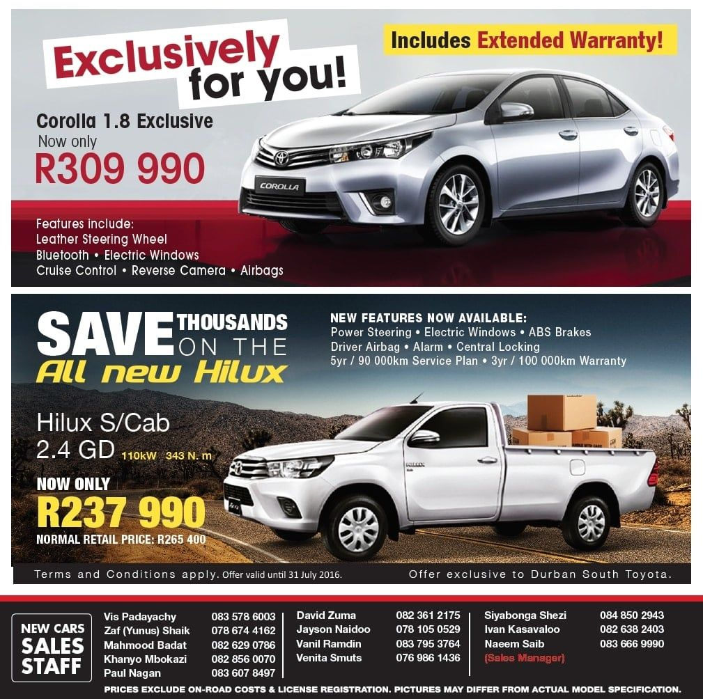 Durban South Toyota Specials Deals Specials On Hilux Fortuner