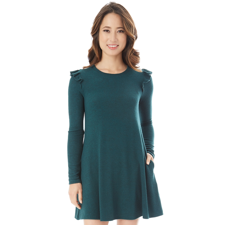 f03328e9d Juniors' IZ Byer Ruffled Sweaterdress | Products | Tunic tops, Tunic ...
