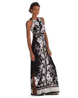 White house black market kaleidoscope chiffon maxi dress