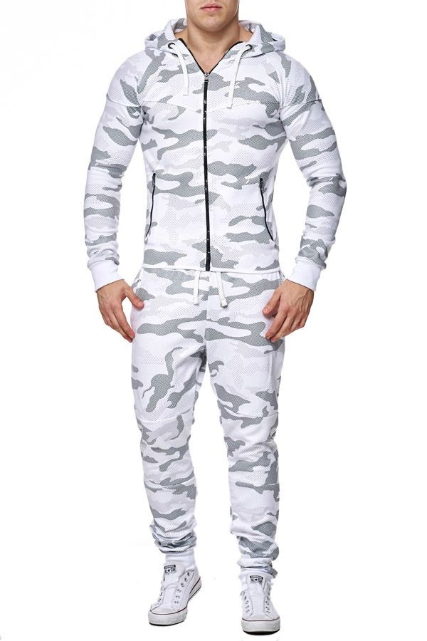 large discount great quality top design Ensemble jogging homme camouflage blanc 658 | Hoodie and ...