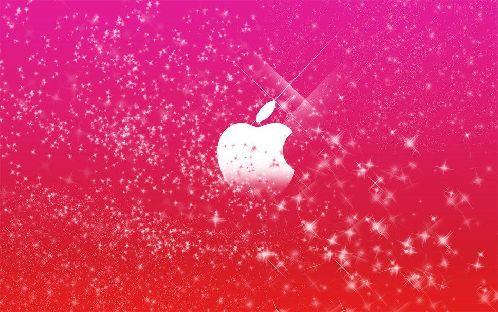Glitters Logo Pink Apple Wallpaper