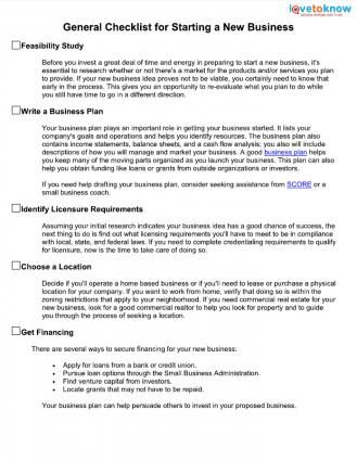 Checklist for Starting a Business Small Businesses and Startups - business plans samples