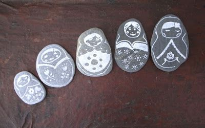 Rocks painted with white pen