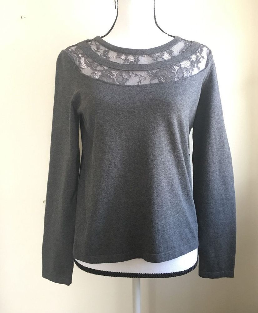 6c4931f4447 NWT Women s VINCE CAMUTO Gray Lace Yoke Sweater Pullover Long Sleeve Size XS  S  VinceCamuto